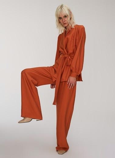 People By Fabrika Keten Görünümlü Dökümlü Pantolon Kiremit